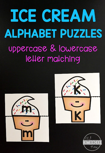 FREE Ice Cream Alphabet Puzzles - a fun way for kids in preschool, prek, and kindergarten to practice matching upper case letters and lower case letters.