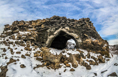 One of the unusual lava rock formations at Dimmuborgir