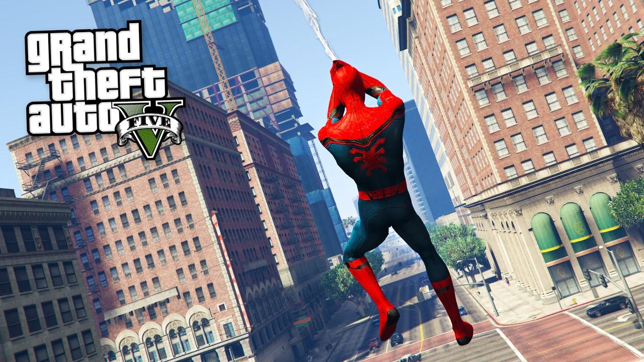 GTA 5'in PlayStation 4 Versiyonu Ücretsiz olarak açıklandı ve spiderman ağıyla uçuyor.