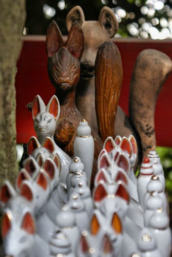 Inari Shrine with fox figurines.