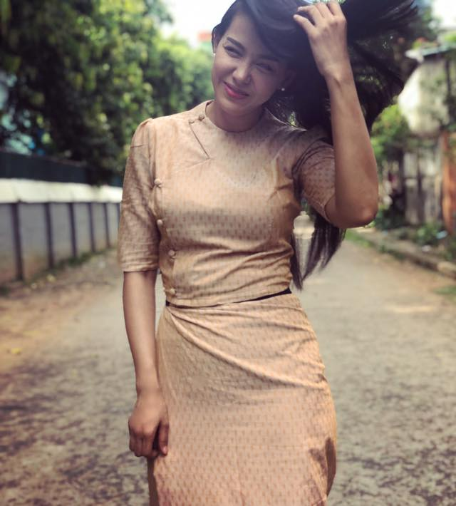 Ma Aye Thaung in Myanmar Beautiful Dress