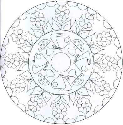 Mandala de flores y honguitos