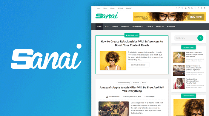 Sanai Blogger template is the expert looking together with responsive blogger template Free Download Sanai Blogger template