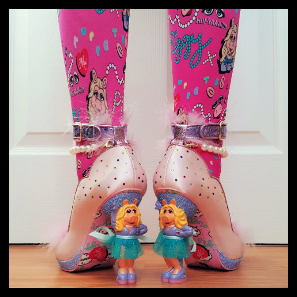 wearing Miss Piggy heels close up with patterned sole