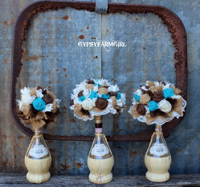 turquoise fabric bouquets