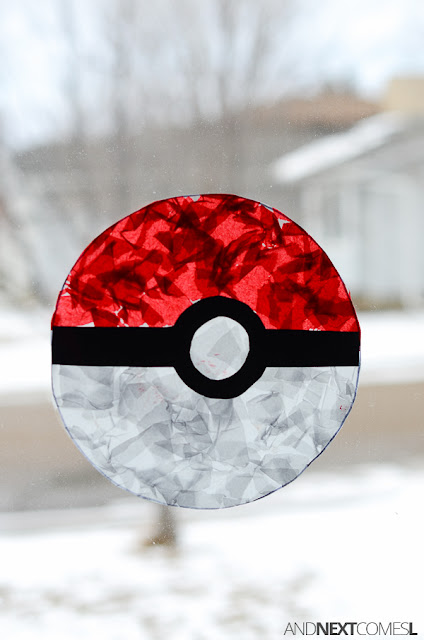Pokeball suncatcher: fine motor Pokemon craft for kids from And Next Comes L