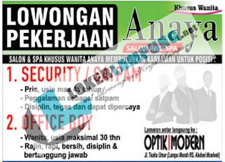 Tantangan Kerja Terbaru Juli 2016 di Anaya Salon & SPA Bandar Lampung