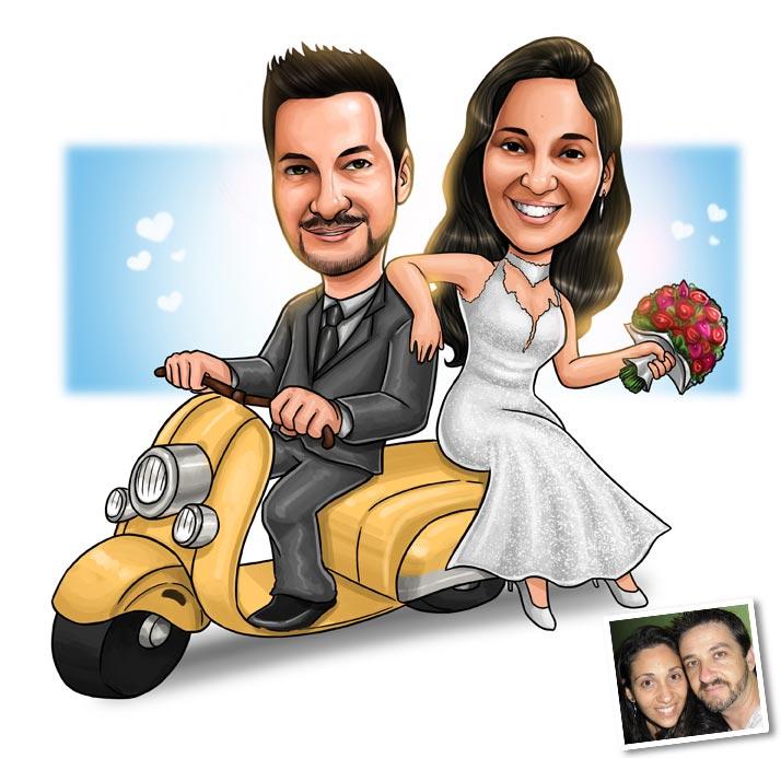caricatura casal moto