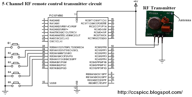 RF Remote control transmitter circuit using PIC18F4550 microcontroller CCS C