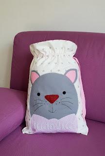 sacchetto primo cambio bebè gattino personalizzato