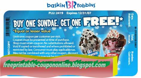image relating to Baskin Robbins Printable Coupons named Baskin robbins on the net coupon codes