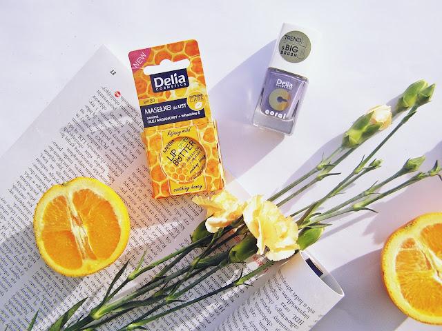 Delia Cosmetics masełko do ust kojący miód & lakier do paznokci Trend Collection 12