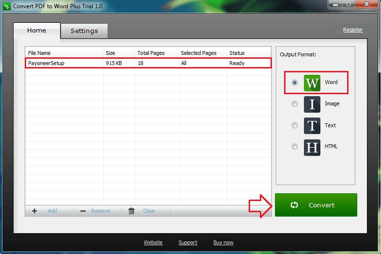 setelah file terunggah, pilih convert untuk memulai proses konversi file