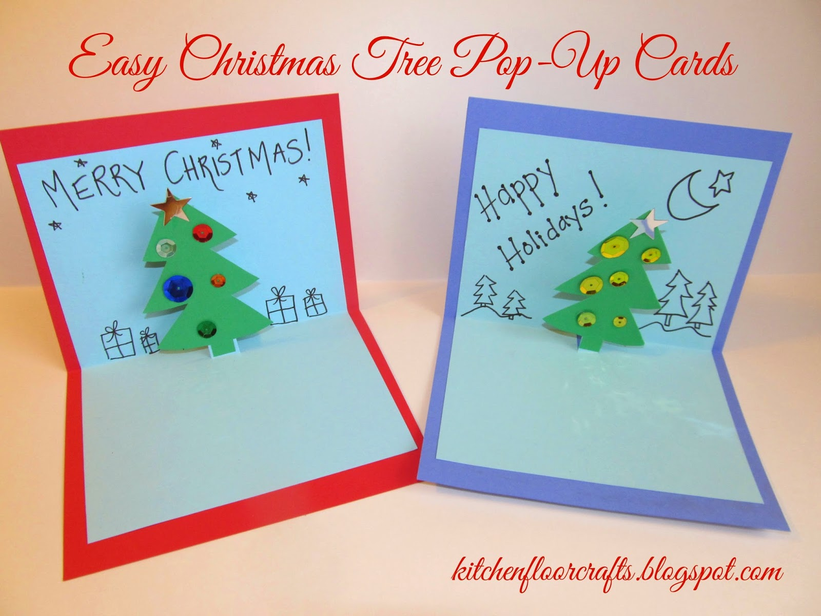 Kitchen Floor Crafts: Easy Christmas Tree Pop-Up Cards