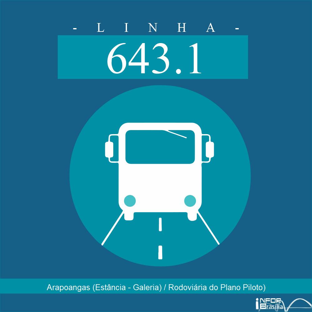 Horário de ônibus e itinerário 643.1 - Arapoangas (Estância - Galeria) / Rodoviária do Plano Piloto)