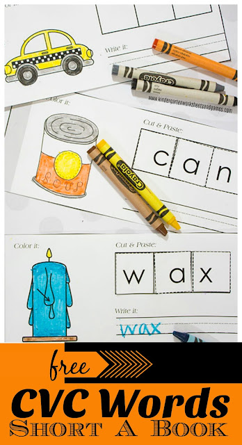 FREE Printable CVC Words Short A Book with pictures is a fun CVC Words Worksheets that becomes a book as students cut and paste in this fun CVC Words Activities for preschool, kindergarten, and first grade kids.
