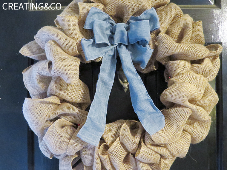 Burlap & Denim Wreath, shared by Creating & Co