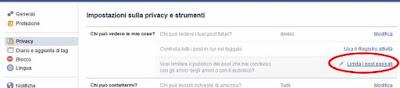 Limita i post passati facebook