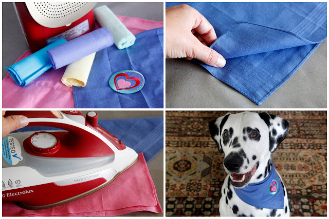 How to make a no-sew dog bandana with a handkerchief and iron-on applique