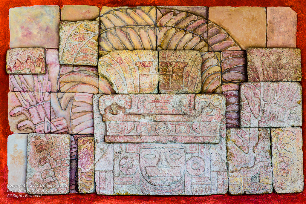 a photo of an ancient stone mural from the museum at teotihuacan mexico