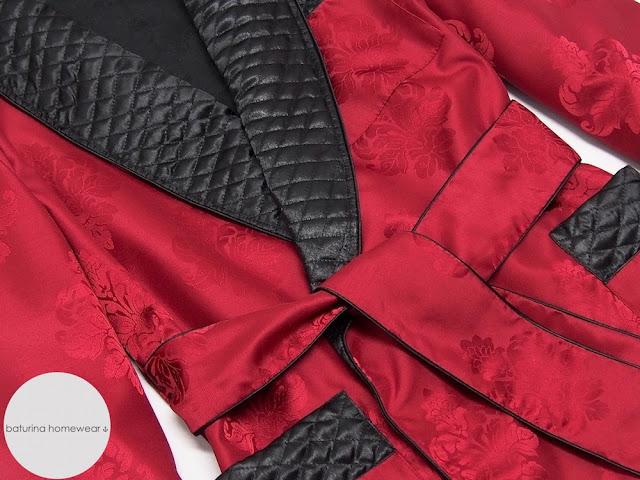 mens smoking jacket cigar robe silk quilted red black classic smoker robes english style vintage gentleman