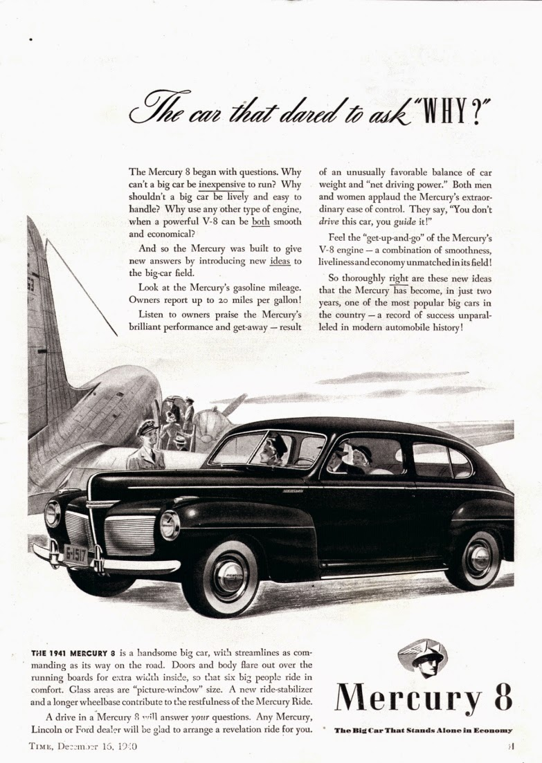 1941 Mercury 8 Vintage Cars Ads 4 Door Sedan Its Extraordinary Ease Of Handling Is A Revelation To The Must Experience Drivers It That Could Be Created Only From Unique Research