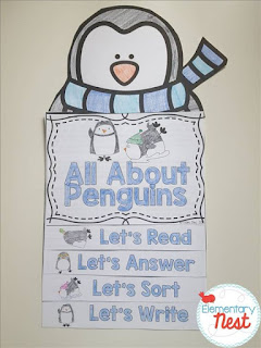 Penguin flip book plus a few winter FREEBIES- blog post highlighting hands-on activities for kids