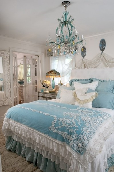 Ideas For Bedrooms: Light Blue And White