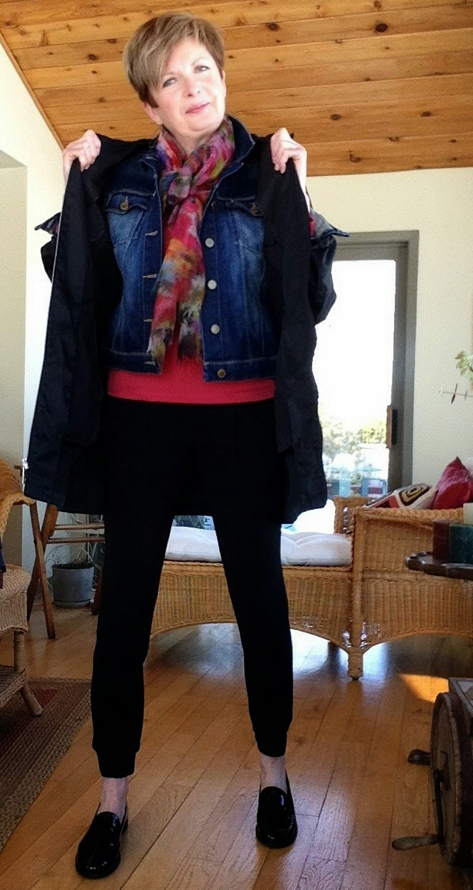 my new black Harvey pants from Aritzia, with Paige jean jacket, and Michael Kors raincoat