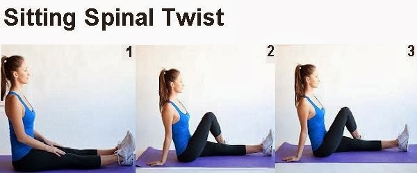 a beautiful woman doing Sitting Spinal Twist pose
