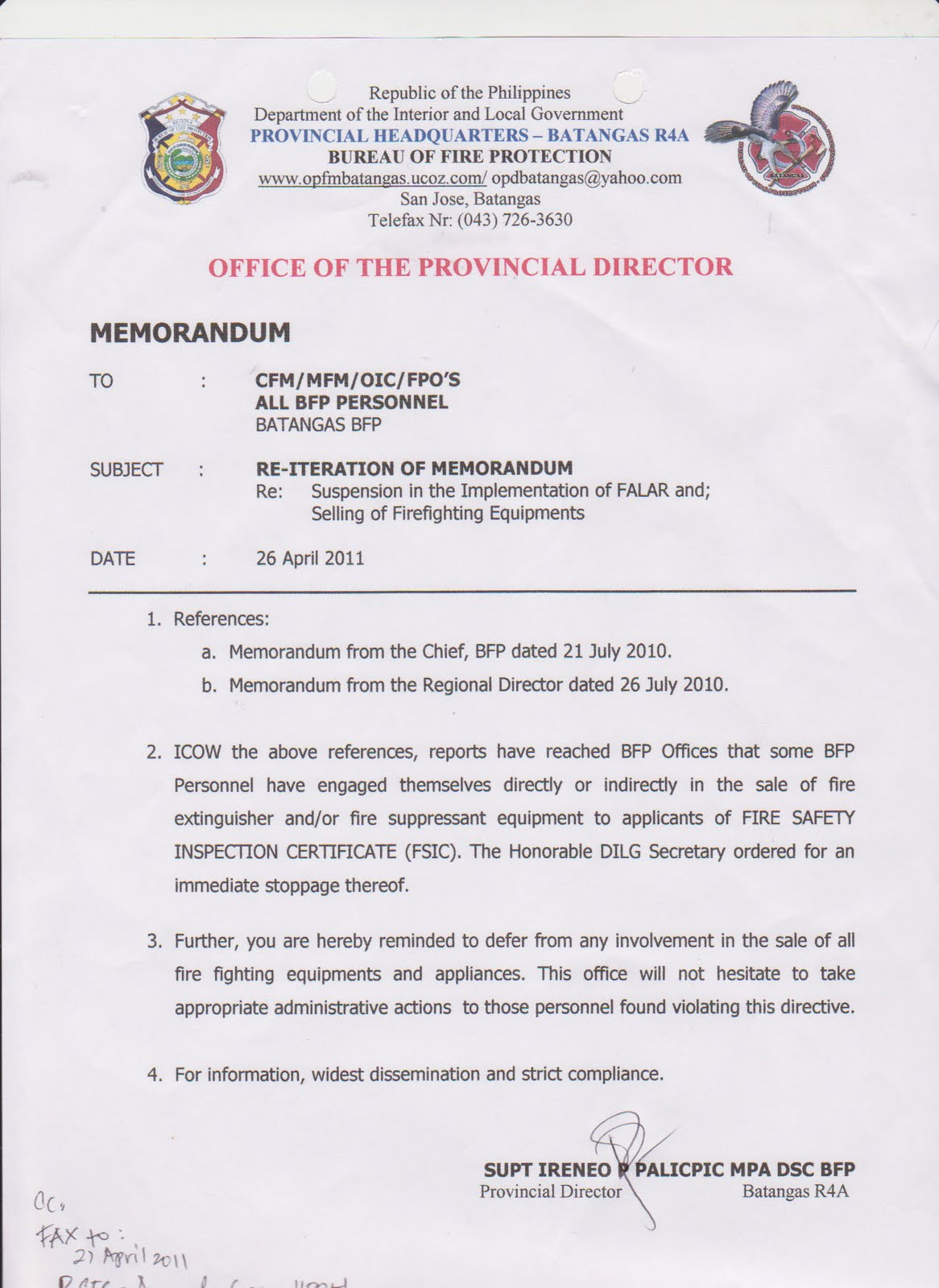 fire alarm installation certificate template - opd batangas archives april 2011