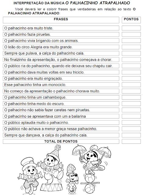 Interpretação da música O PALHACINHO ATRAPALHADO