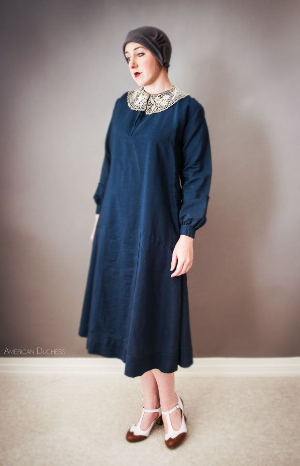 Original 1920s navy wool and lace dress - American Duchess Blog