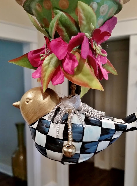checked bird ornament, kissing ball,