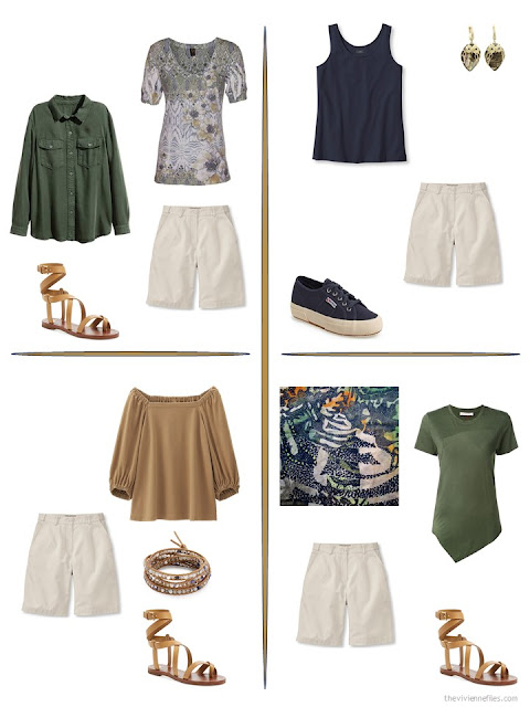 four ways to style a pair of beige shorts from a travel capsule wardrobe