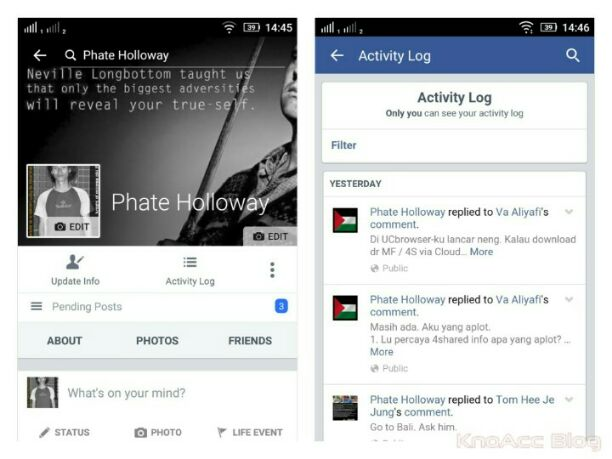 akses Activity Log di Facebook App
