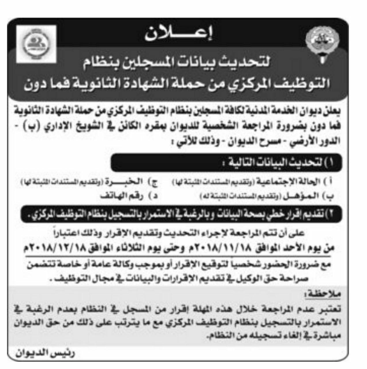 وظائف الكويت الحكوميه للشباب