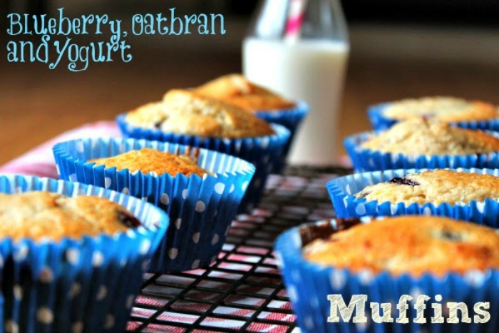 Blueberry, Oatbran and Yogurt Muffins