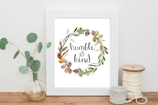 Humble & Kind printable watercolor art - Check out the brand new Max & Dot Co. Etsy shop for fun mugs and beautiful printables