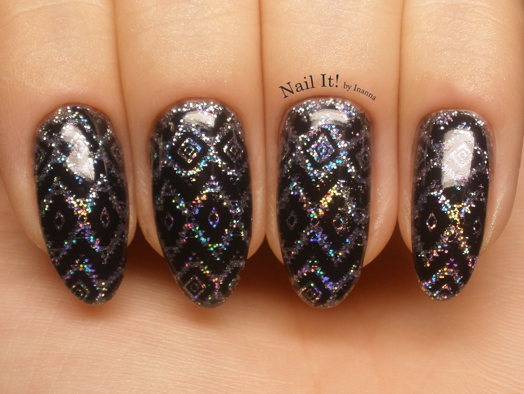 "Holo Aztek Nail Art (with B. Loves Plates ""B.01 Geometry is Perfect"" stamping plate)"