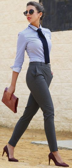 how to wear a stripped shirt : bag + grey pants + heels