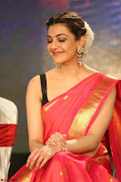 Kajal Aggarwal in Red Saree Sleeveless Black Blouse Choli at Santosham awards 2017 curtain raiser press meet 02.08.2017 027.JPG