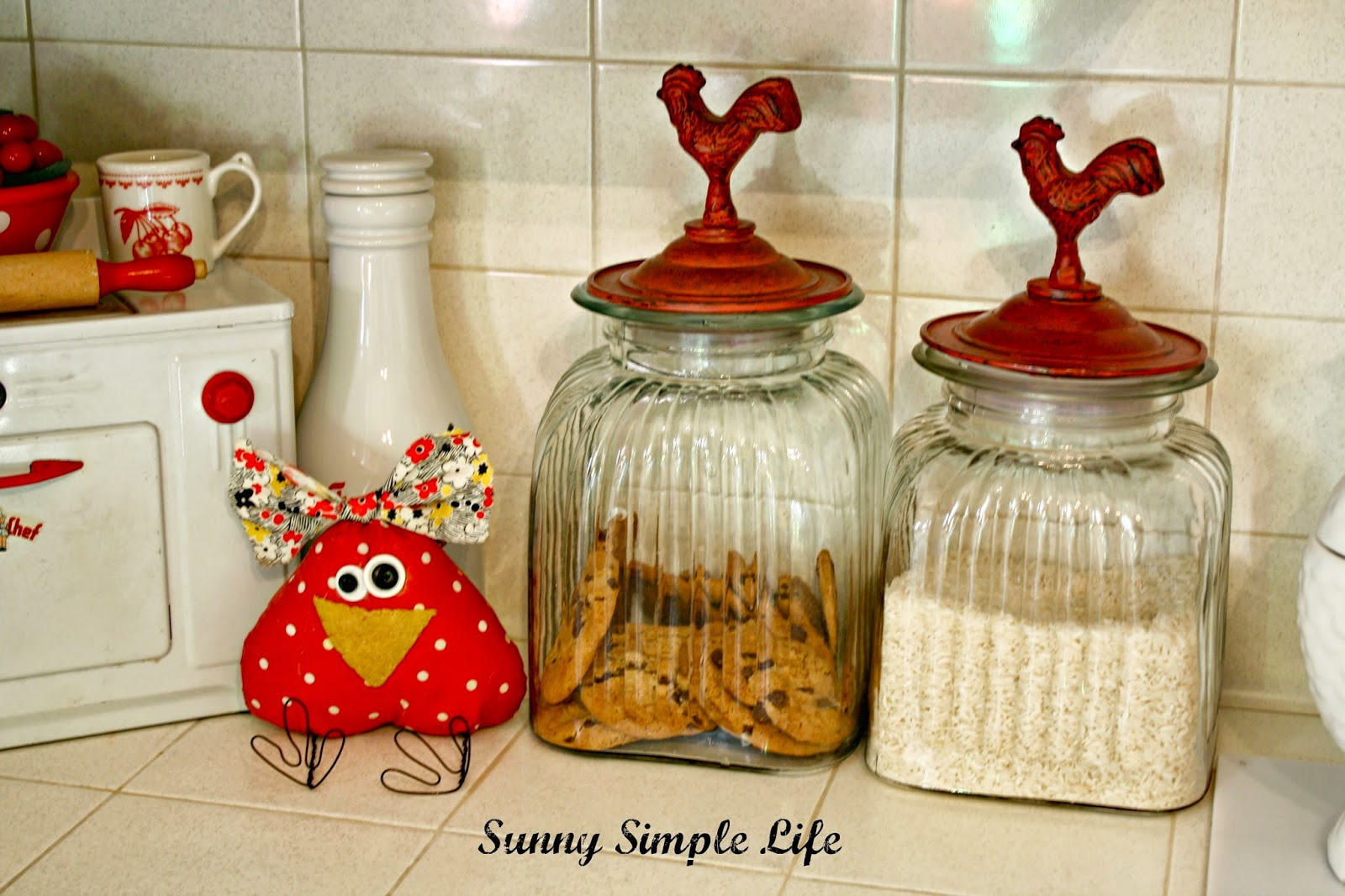 Vintage Kitchen, Fabric Chicken, Chicken Canisters Red And White