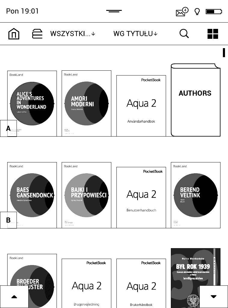 PocketBook Aqua 2 – zrzut ekranu widoku biblioteki w trybie okładek