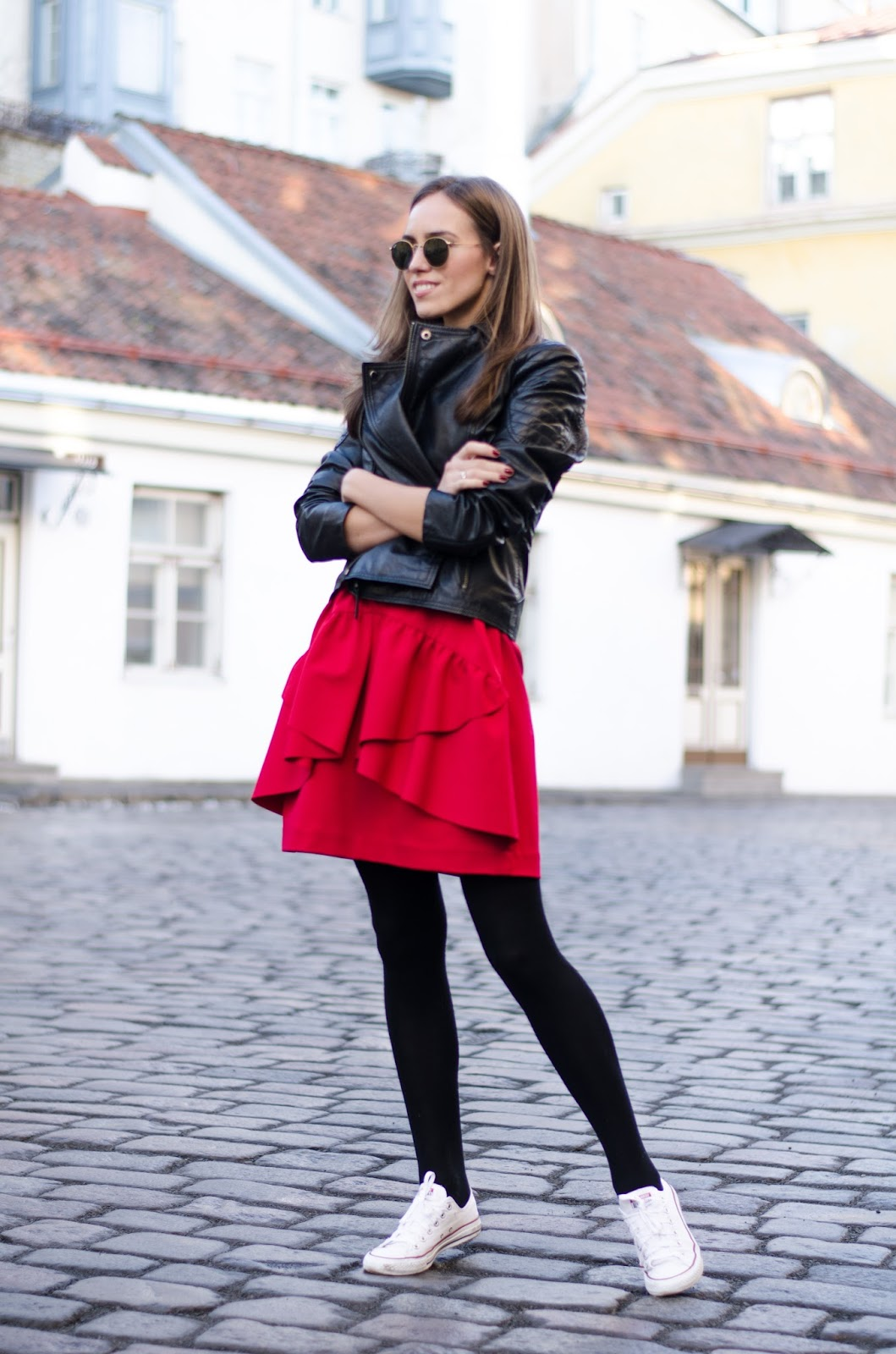 kristjaana mere red dress sneakers leather jacket outfit