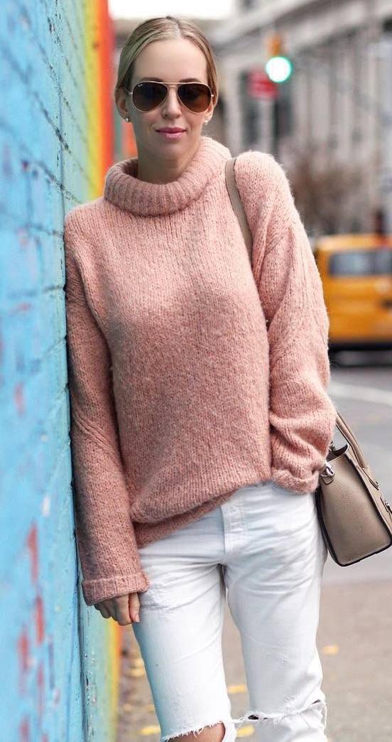 blush knit + white rips