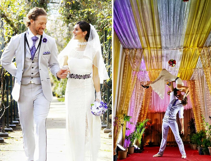 Spain (left) | India (right) - Acrobat Couple Gets Married In 38 Different Places Around The World In 83 Days