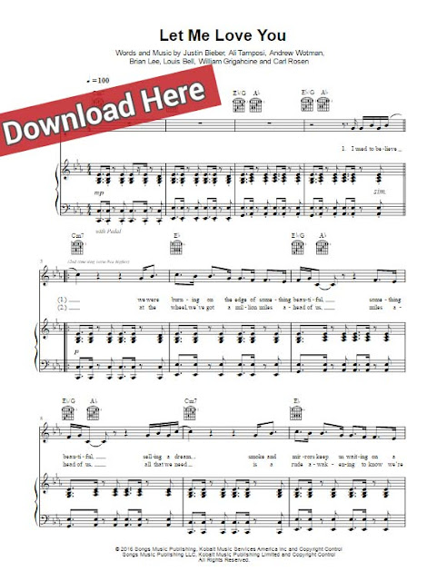 dj snake, justin bieber, let me love you, sheet music, piano notes, chords, score, keyboard, guitar, klavier noten, akkorder, partition