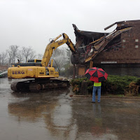 Grappler demolishing the old Wheaton Library building