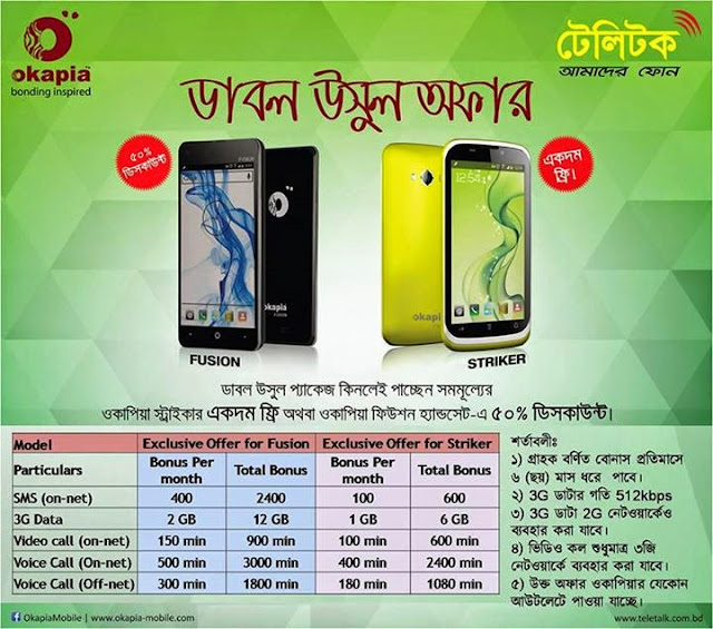 Teletalk Double Usul Offer with Okapia Handset